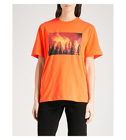 WASTED PARIS Forest Fire cotton-jersey T-shirt (Orange