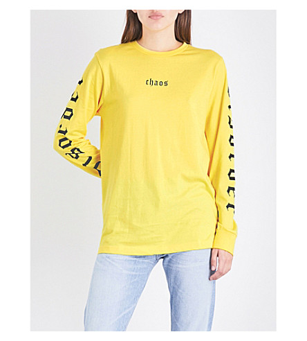 WASTED PARIS Disorder cotton-jersey top (Yellow