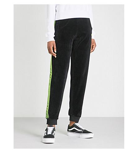 WASTED PARIS Slim-fit velvet jogging bottoms (Black