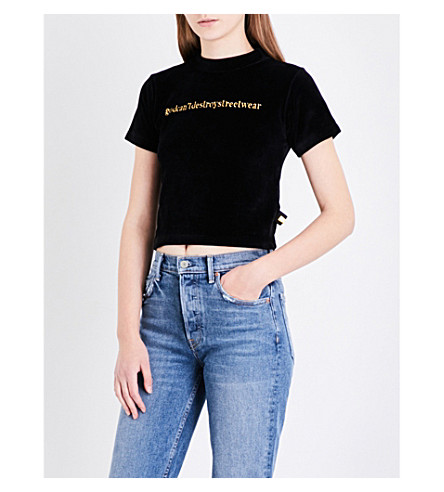 GCDS Logo-embroidered velour cropped top (Black