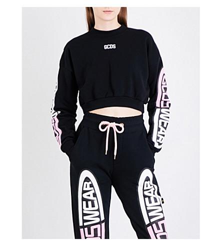 GCDS GCDS Wear cotton-jersey cropped sweatshirt (Black