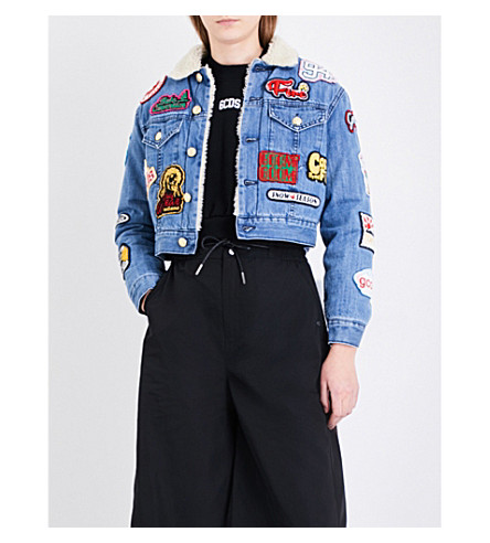GCDS Patch appliqué cropped denim jacket (Lightblue
