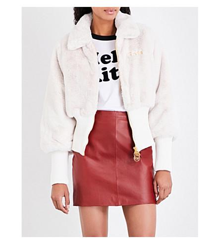 GCDS Gods Wear faux-fur bomber jacket (White