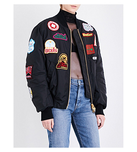 GCDS Patch appliqué shell bomber jacket (Black