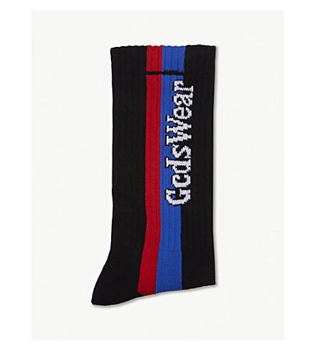 GCDS Striped logo cotton socks (Black