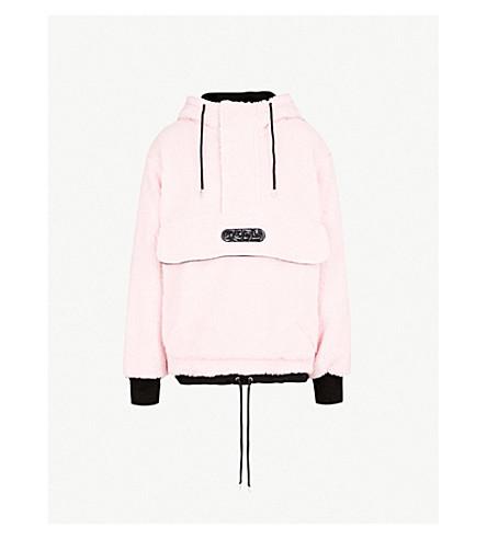 GCDS Half-zip faux-faux hooded jacket (Pink