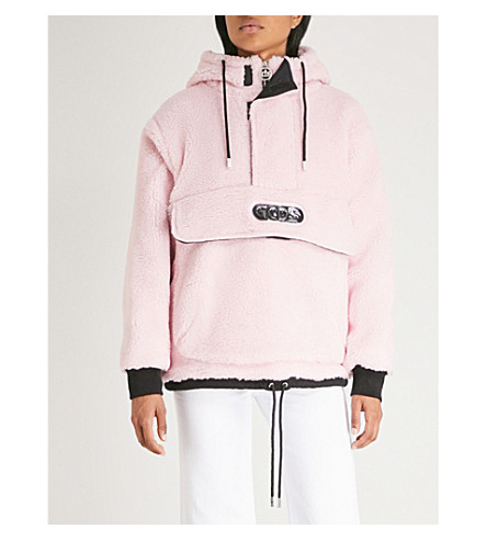 GCDS Half-zip faux-faux hooded jacket (Pink