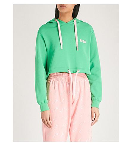 GCDS Corseted cotton-jersey hoody (Green