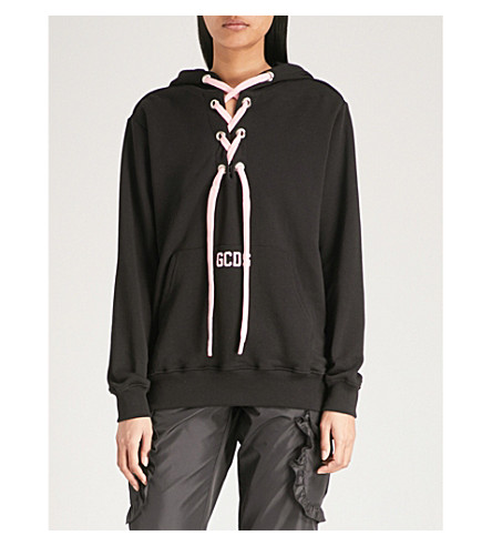 GCDS Corseted cotton-jersey hoody (Black