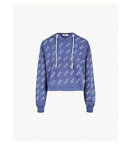GCDS Logo-embellished cropped cotton-jersey hoody (Blue