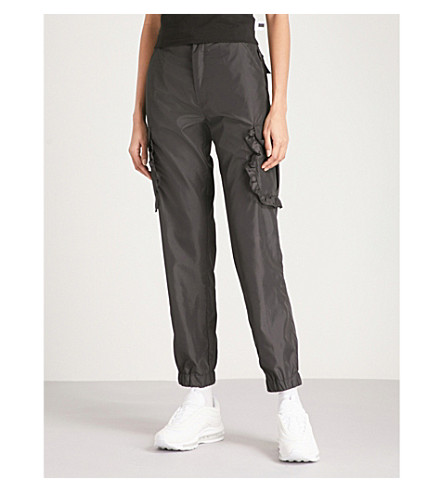 GCDS Frilled-pocket shell cargo trousers (Black