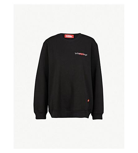 032C Logo-embroidered cotton-jersey sweatshirt (Black