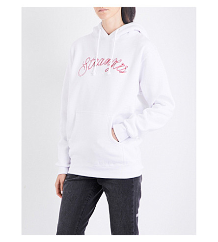 STRANGERS Even Stranger embroidered jersey hoody (White