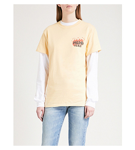 STRANGERS Hell Yeah cotton-jersey T-shirt (Yellow