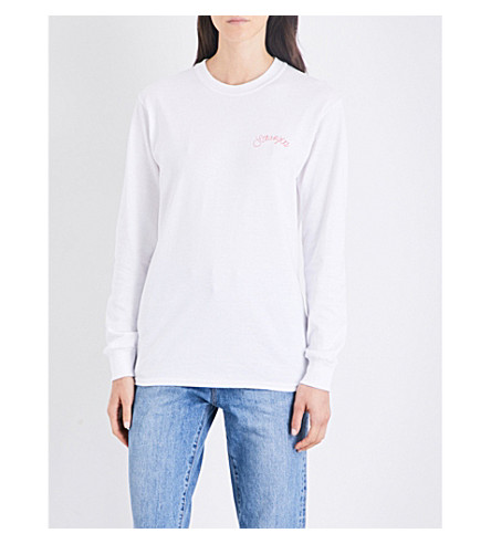 STRANGERS Romance cotton-jersey top (White