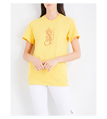 STRANGERS Tiger Style cotton-jersey T-shirt (Yellow