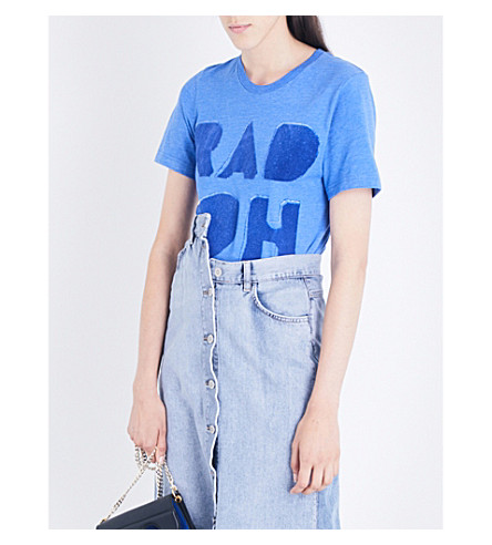 RADIOHEAD Cutout Logo Flock cotton-blend T-shirt (Blue