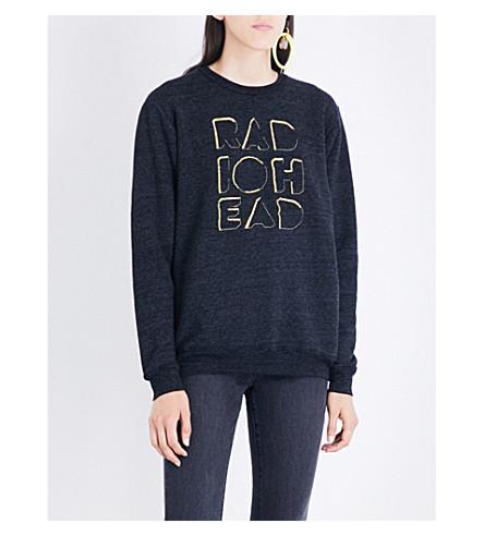 RADIOHEAD Embroidered Cutout Logo jersey sweatshirt (Black