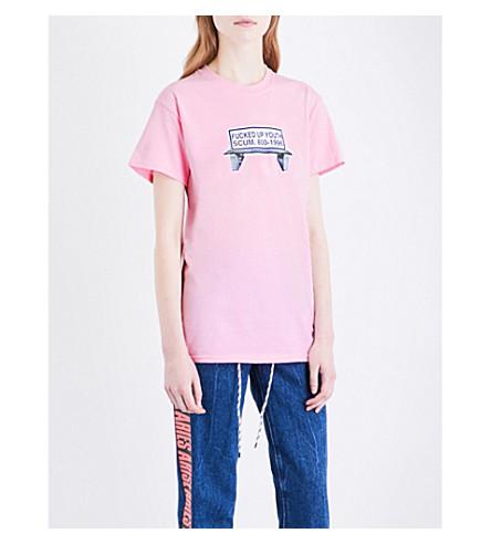 RAT BOY-SCUM Bench-print cotton-jersey T-shirt (Pink