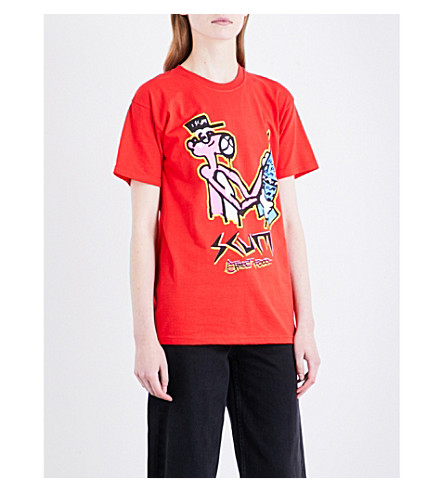 RAT BOY-SCUM Pink Panther cotton-jersey T-shirt (Red