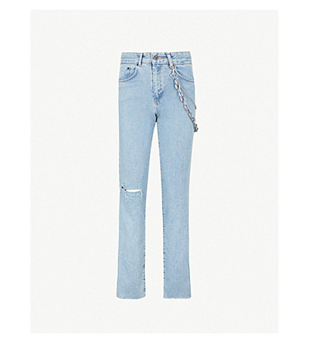 THE RAGGED PRIEST Roach chain-detail high-rise straight jeans (Light+blue