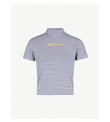 THE RAGGED PRIEST标语打印条纹图案平纹针织面料 T 恤 (蓝色