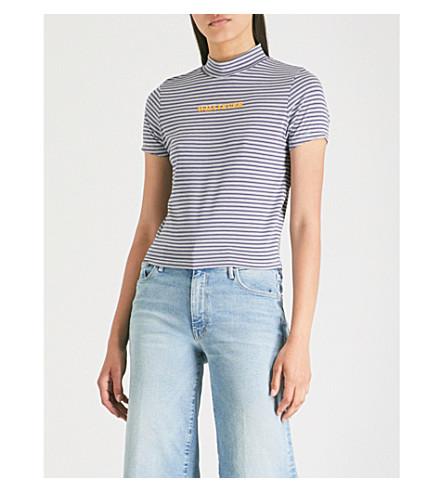 THE RAGGED PRIEST Slogan-print striped-pattern jersey T-shirt (Blue