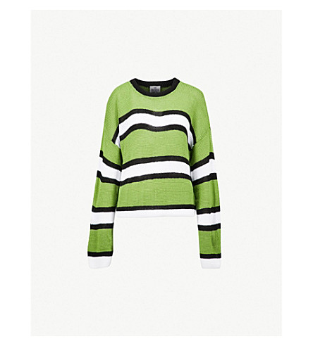 THE RAGGED PRIEST Limer striped knitted jumper (Green