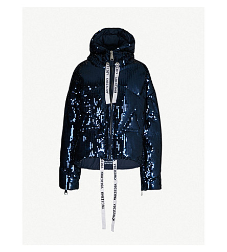 KHRISJOY Sequinned down jacket (Navy paill