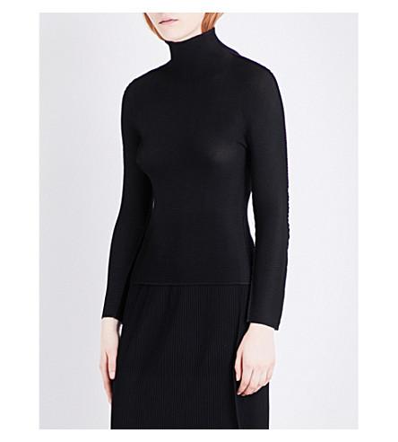 CAULIFLOWER High neck stretch-pleated top (Black