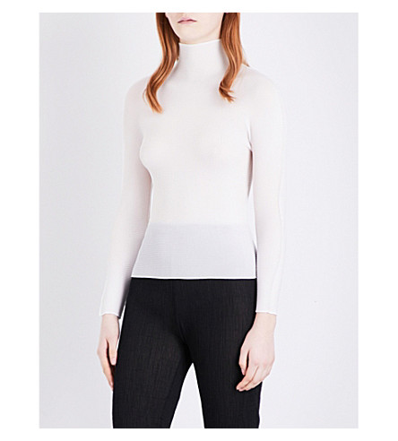 CAULIFLOWER High neck stretch-pleated top (White
