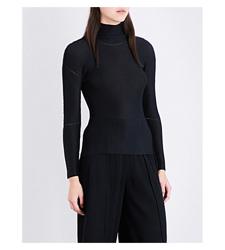 CAULIFLOWER High-neck woven top (Black