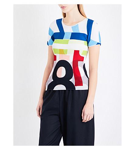 CAULIFLOWER Number-print pleated T-shirt (White