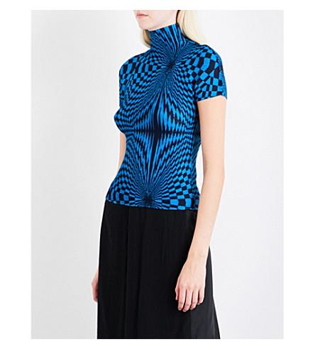 CAULIFLOWER Optic-print pleated T-shirt (Blue
