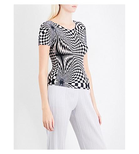 CAULIFLOWER Optic-print pleated T-shirt (White