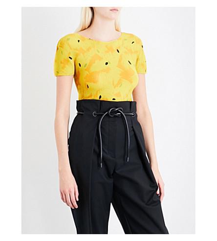 CAULIFLOWER Feather-print pleated T-shirt (Yellow