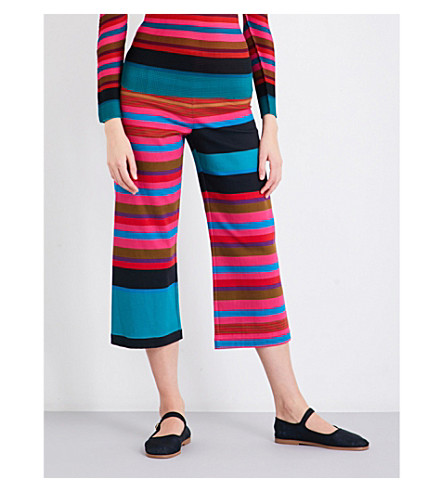 CAULIFLOWER Random Stripe wide-leg cotton-blend trousers (Pink+mix