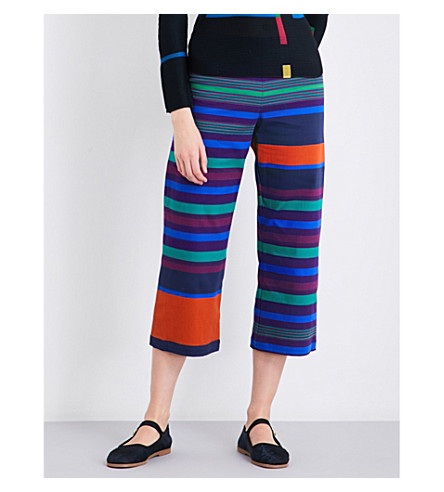 CAULIFLOWER Random Stripe wide-leg cotton-blend trousers (Purple mix