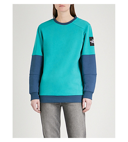 THE NORTH FACE Logo-embroidered cotton-jersey sweatshirt (Green/blue+teal