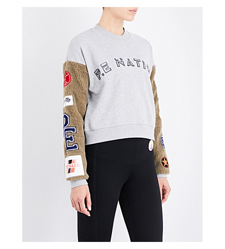 P.E NATION Box Out cotton sweatshirt (Grey+marl