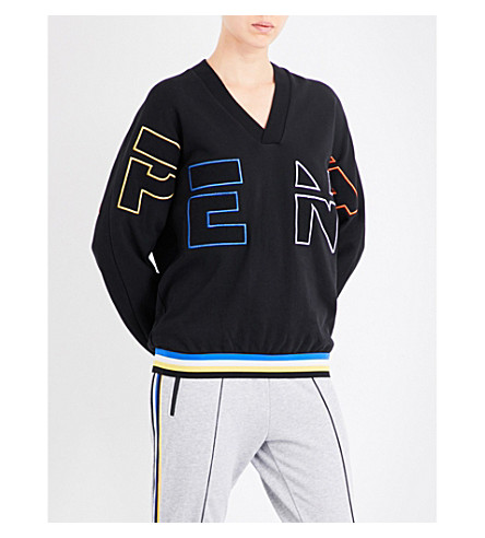 P.E NATION Long shot logo-embroidered cotton-jersey sweatshirt (Black