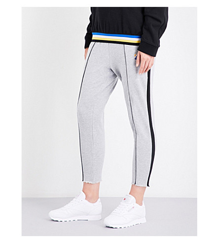 P.E NATION Deuce marl cotton-jerey jogging bottoms (Grey+marl