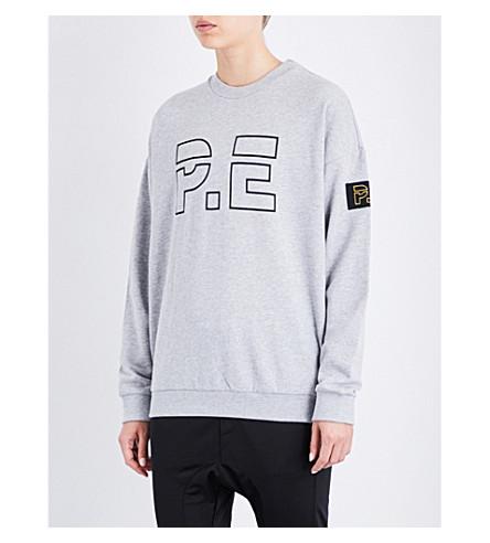 P.E NATION Head Up cotton-jersey sweatshirt (Grey+marl