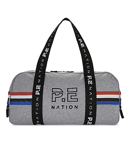P.E NATION Logo canvas barrel bag (Grey marl
