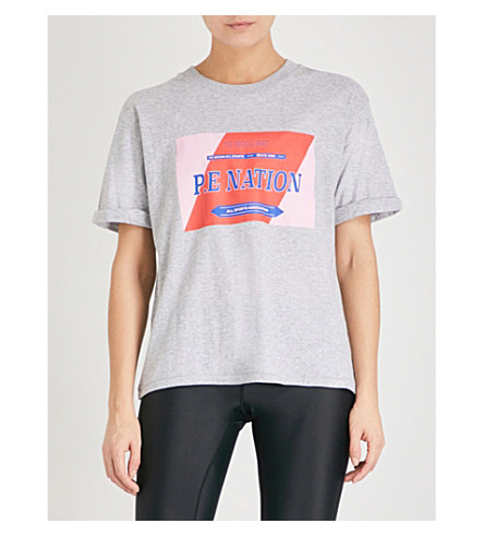 P.E NATION The Punt Tee printed cotton-jersey T-shirt (Grey marl