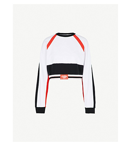 P.E NATION Cannibal cropped cotton-jersey sweatshirt (White