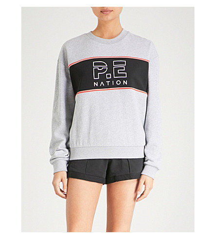P.E NATION Invictus cotton-jersey sweatshirt (Grey+marl