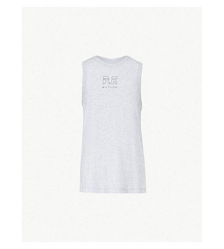 P.E NATION神户无袖棉衫上衣 (灰 + 石灰泥