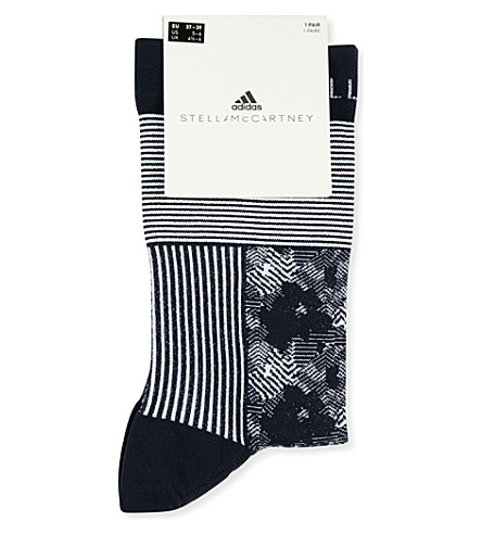 ADIDAS BY STELLA MCCARTNEY Stripe and floral-patterned ankle socks (Legend+blue