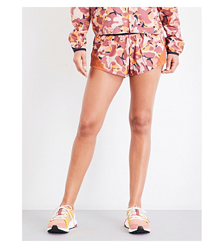 ADIDAS BY STELLA MCCARTNEY Run camouflage-print shell shorts (Lucky+orange/clay+red